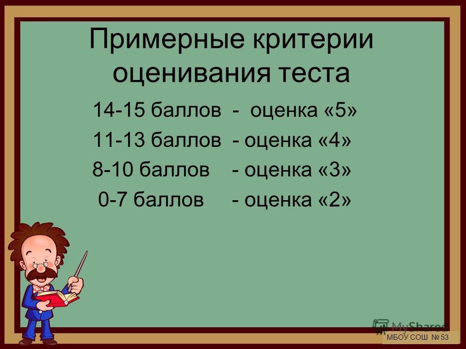 МБОУ СОШ 53 Примерные критерии оценивания теста 14-15 баллов - оценка «5» 11-13 баллов - оценка «4» 8-10 баллов - оценка «3» 0-7 баллов - оценка «2»