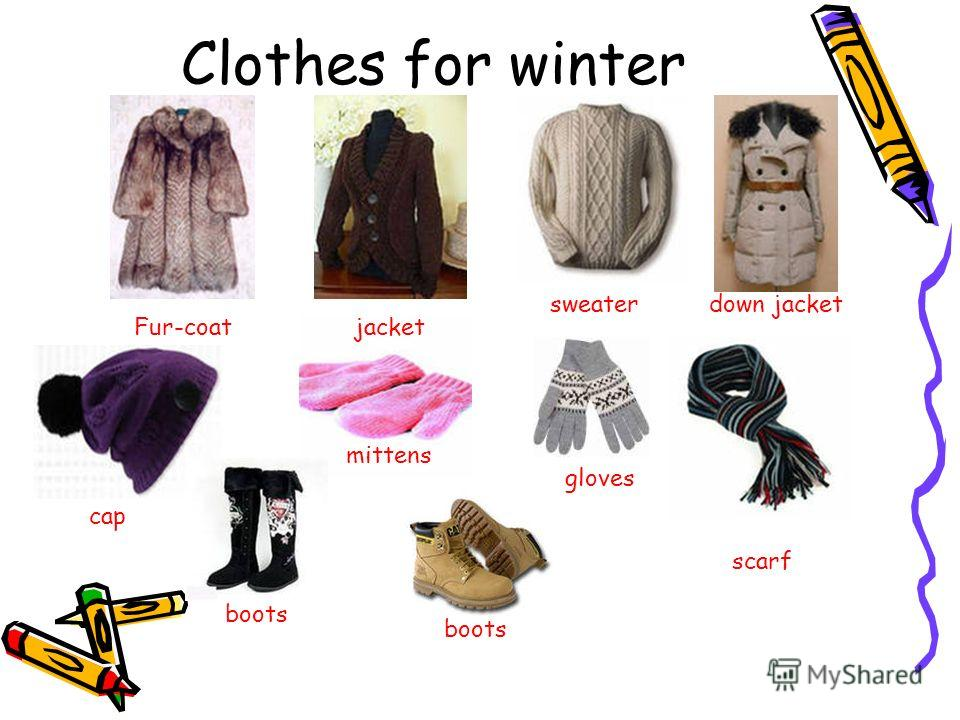 Clothes for winter mittens jacket sweater cap scarf Fur-coat down jacket gloves boots