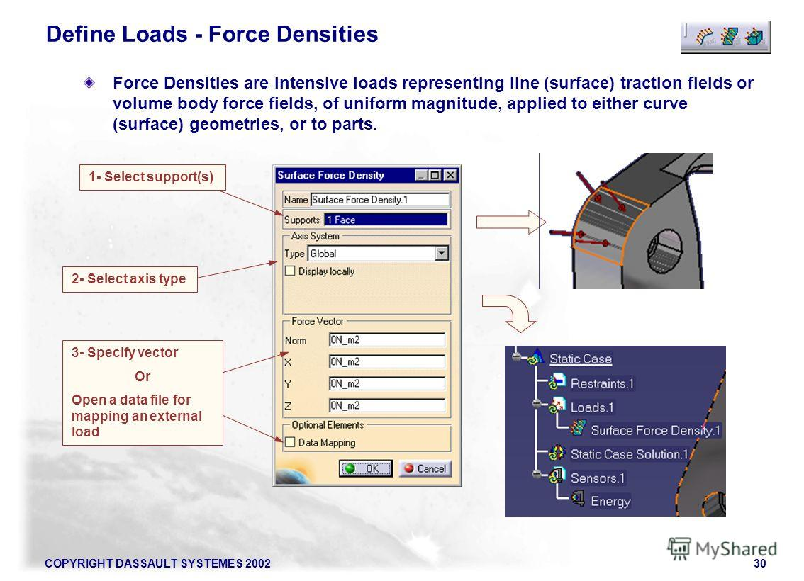 COPYRIGHT DASSAULT SYSTEMES 200230 Force Densities are intensive loads representing line (surface) traction fields or volume body force fields, of uniform magnitude, applied to either curve (surface) geometries, or to parts. Define Loads - Force Dens