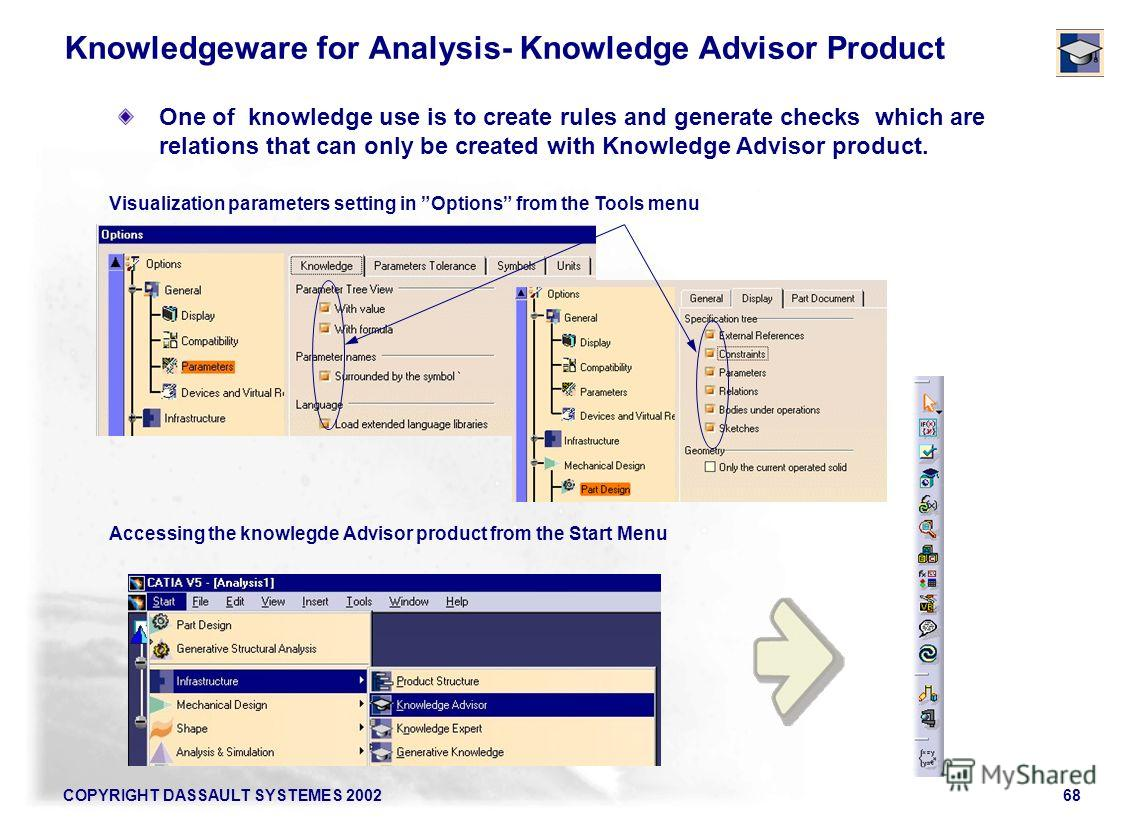 COPYRIGHT DASSAULT SYSTEMES 200268 Visualization parameters setting in Options from the Tools menu Accessing the knowlegde Advisor product from the Start Menu Knowledgeware for Analysis- Knowledge Advisor Product One of knowledge use is to create rul