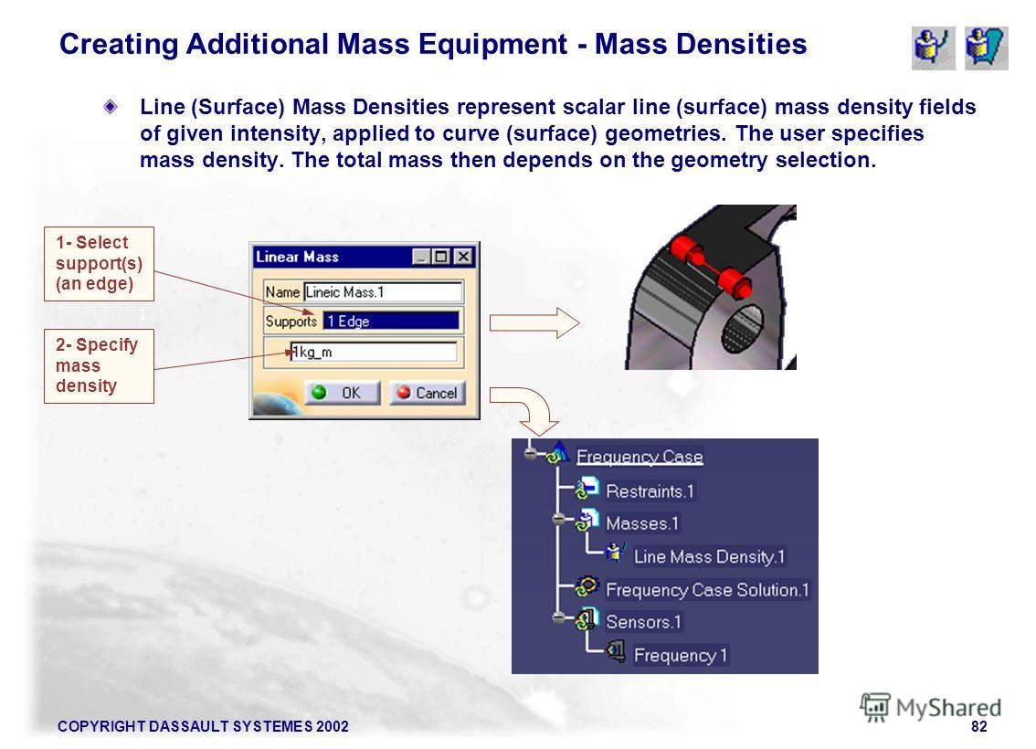 COPYRIGHT DASSAULT SYSTEMES 200282 Creating Additional Mass Equipment - Mass Densities Line (Surface) Mass Densities represent scalar line (surface) mass density fields of given intensity, applied to curve (surface) geometries. The user specifies mas
