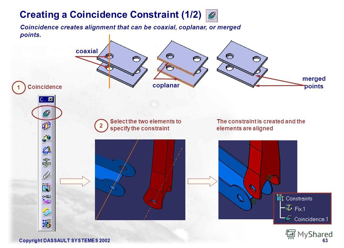 Copyright DASSAULT SYSTEMES 200263 Creating a Coincidence Constraint (1/2) Coincidence creates alignment that can be coaxial, coplanar, or merged points. coaxial coplanar merged points 1 Coincidence 2 Select the two elements to specify the constraint