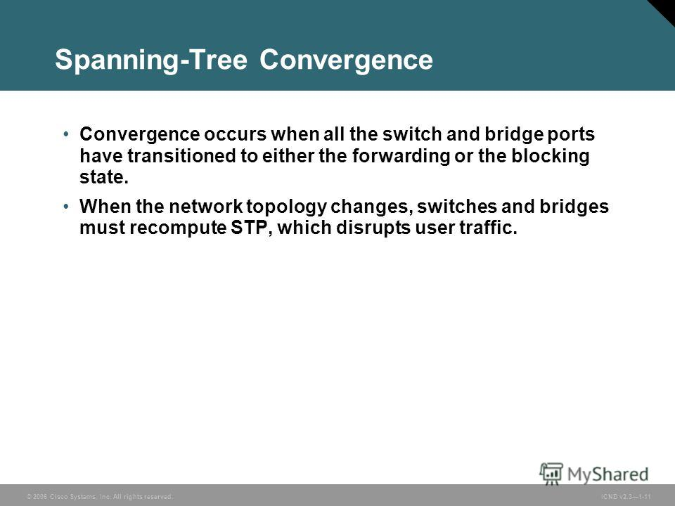 © 2006 Cisco Systems, Inc. All rights reserved. ICND v2.31-11 Spanning-Tree Convergence Convergence occurs when all the switch and bridge ports have transitioned to either the forwarding or the blocking state. When the network topology changes, switc