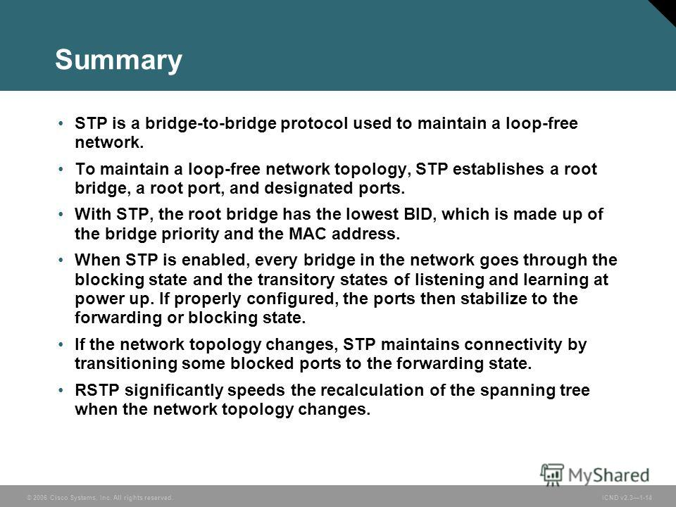 © 2006 Cisco Systems, Inc. All rights reserved. ICND v2.31-14 Summary STP is a bridge-to-bridge protocol used to maintain a loop-free network. To maintain a loop-free network topology, STP establishes a root bridge, a root port, and designated ports.