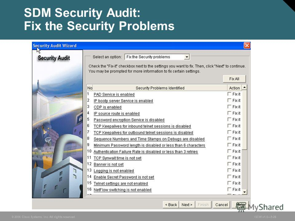 © 2006 Cisco Systems, Inc. All rights reserved.ISCW v1.05-26 SDM Security Audit: Fix the Security Problems