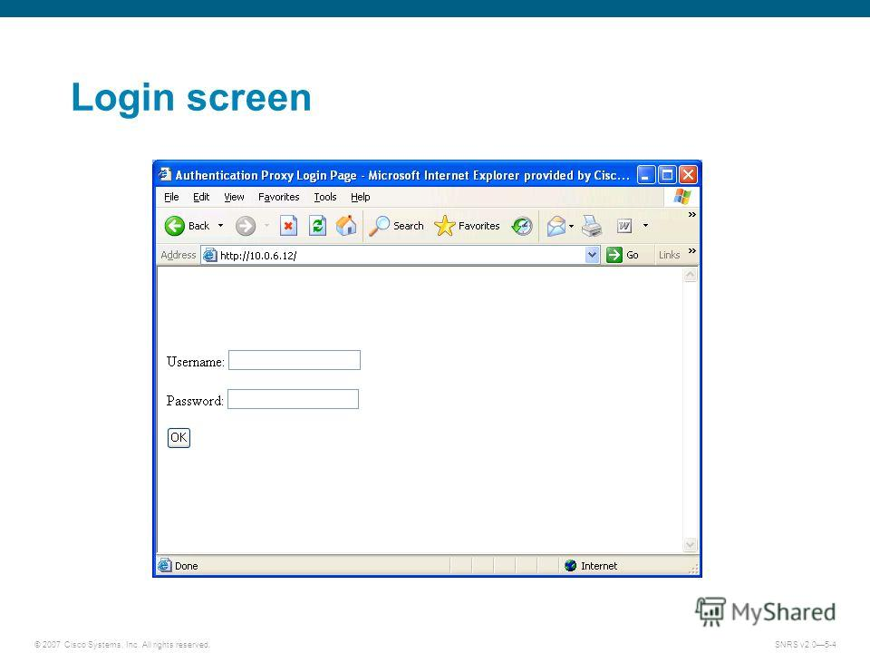 © 2007 Cisco Systems, Inc. All rights reserved.SNRS v2.05-4 Login screen