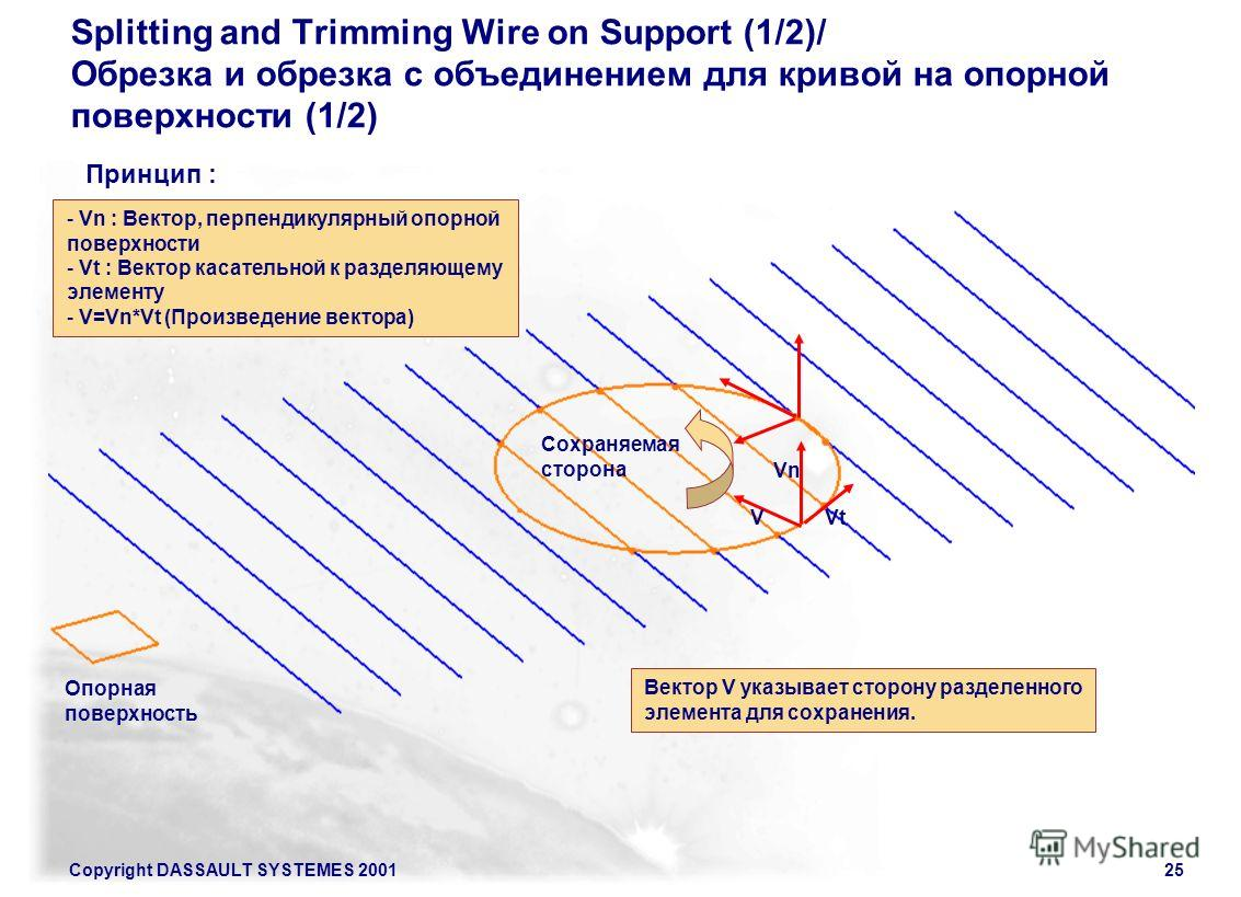 Copyright DASSAULT SYSTEMES 200125 Splitting and Trimming Wire on Support (1/2)/ Обрезка и обрезка с объединением для кривой на опорной поверхности (1/2) Принцип : Сохраняемая сторона Опорная поверхность Vn VtV Вектор V указывает сторону разделенного