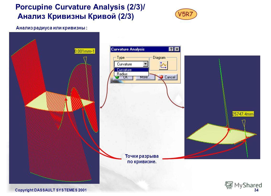 Copyright DASSAULT SYSTEMES 200134 Porcupine Curvature Analysis (2/3)/ Анализ Кривизны Кривой (2/3) V5R7 Анализ радиуса или кривизны : Точки разрыва по кривизне.