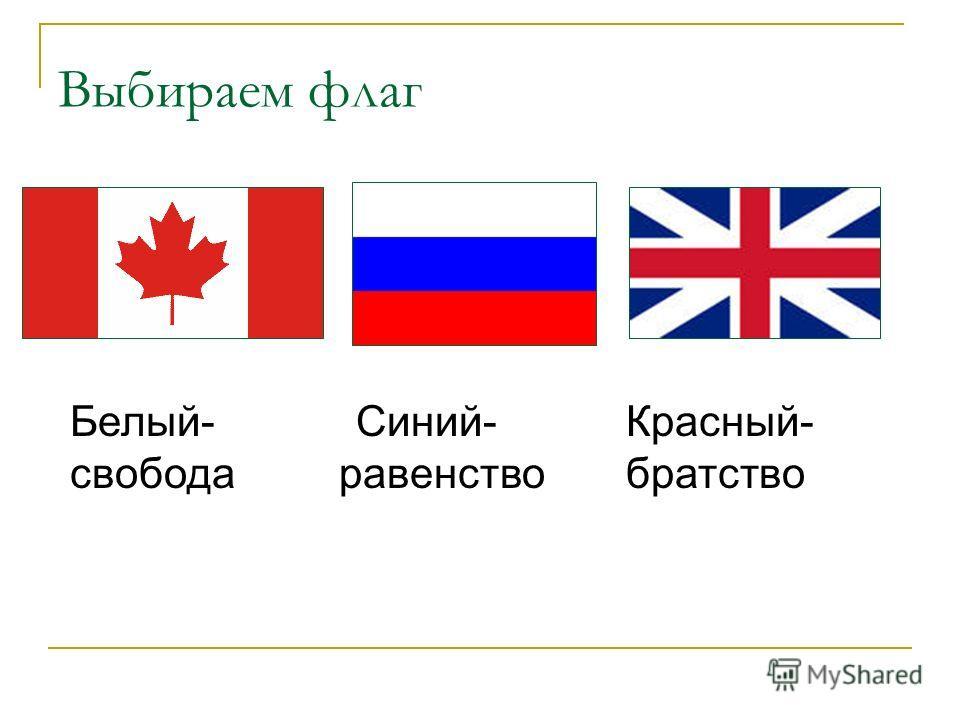 Выбираем флаг Белый- Синий- Красный- свобода равенство братство