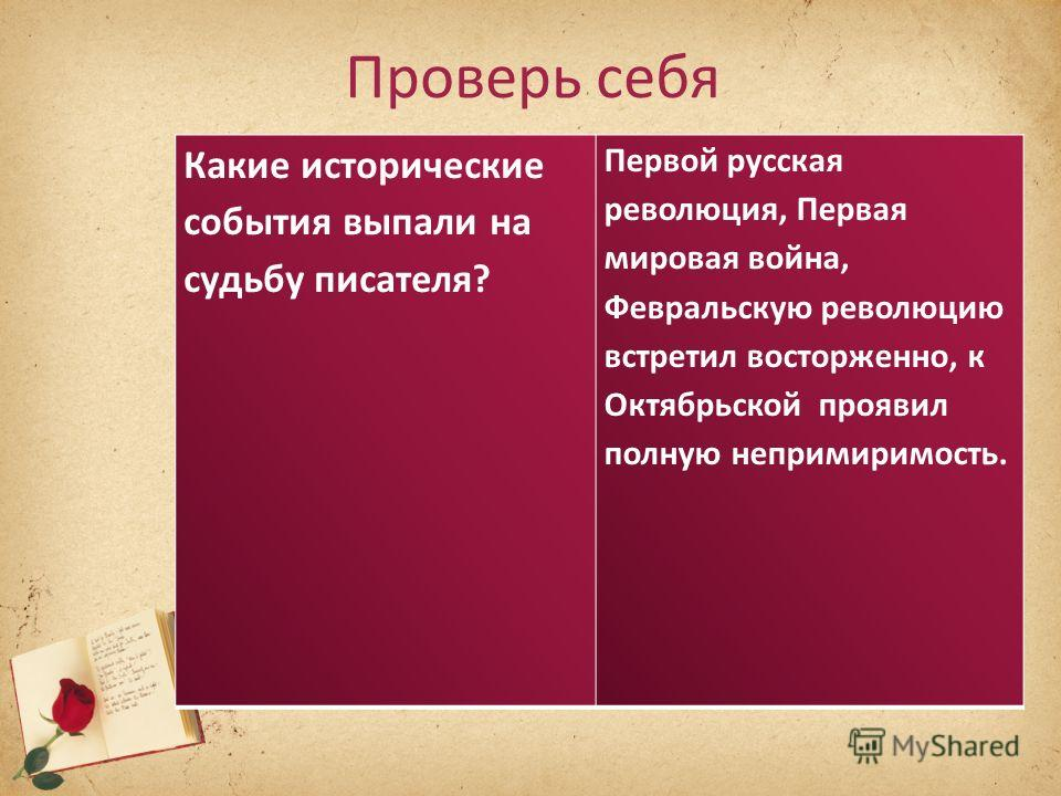 Проверь себя Какие исторические события выпали на судьбу писателя? Первой русская революция, Первая мировая война, Февральскую революцию встретил восторженно, к Октябрьской проявил полную непримиримость.