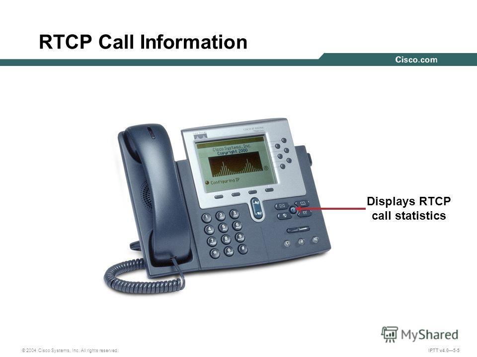 © 2004 Cisco Systems, Inc. All rights reserved. IPTT v4.05-5 RTCP Call Information Displays RTCP call statistics