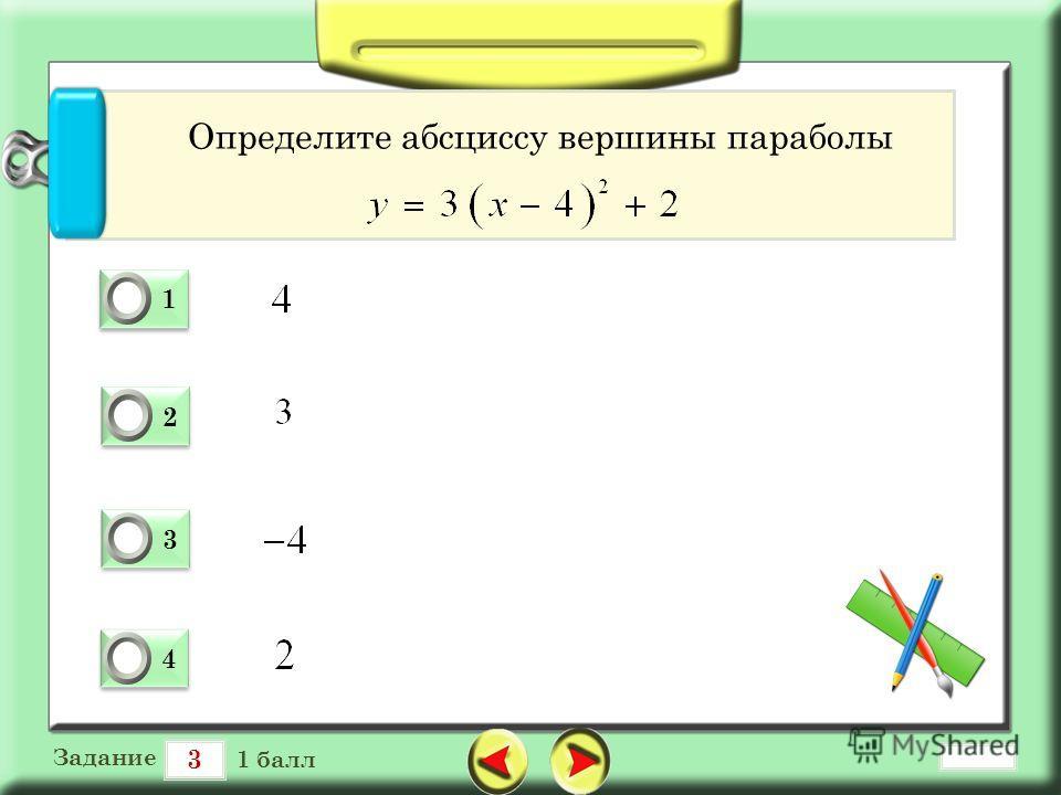 3 Задание 1 балл 1 1 0 2 2 0 3 3 0 4 4 0 Определите абсциссу вершины параболы