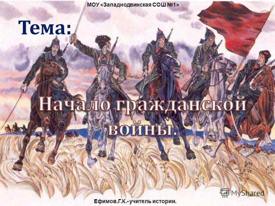 Тема: МОУ «Западнодвинская СОШ 1» Ефимов.Г.К.- учитель истории.