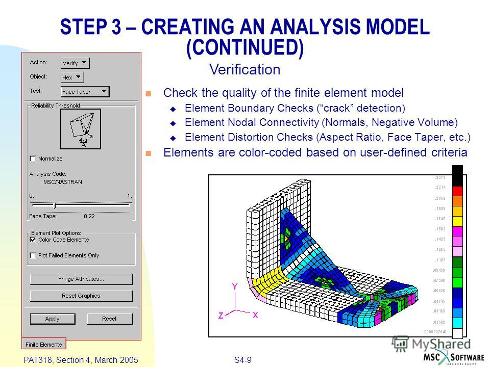 S4-9 PAT318, Section 4, March 2005 STEP 3 – CREATING AN ANALYSIS MODEL (CONTINUED) Check the quality of the finite element model Element Boundary Checks (crack detection) Element Nodal Connectivity (Normals, Negative Volume) Element Distortion Checks