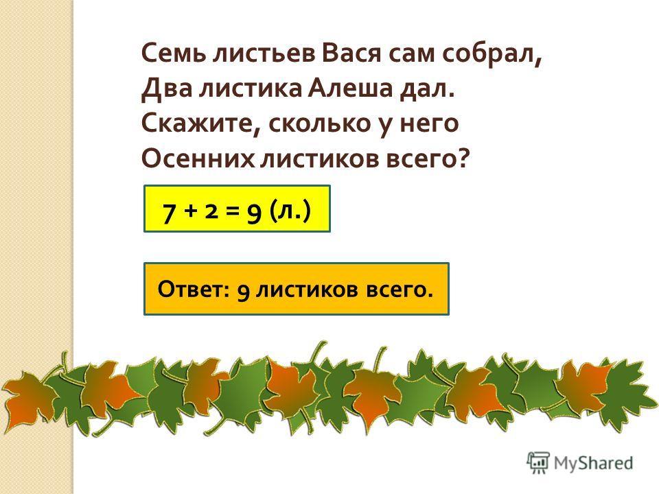Семь листьев Вася сам собрал, Два листика Алеша дал. Скажите, сколько у него Осенних листиков всего ? 7 + 2 = 9 ( л.) Ответ : 9 листиков всего.