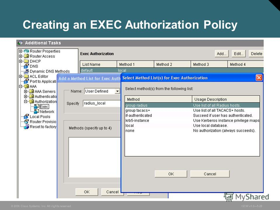 © 2006 Cisco Systems, Inc. All rights reserved.ISCW v1.05-28 Creating an EXEC Authorization Policy