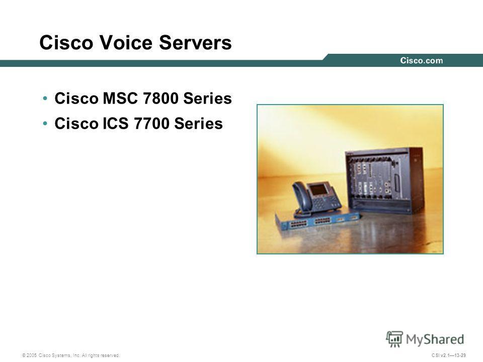 © 2005 Cisco Systems, Inc. All rights reserved. CSI v2.113-29 Cisco Voice Servers Cisco MSC 7800 Series Cisco ICS 7700 Series