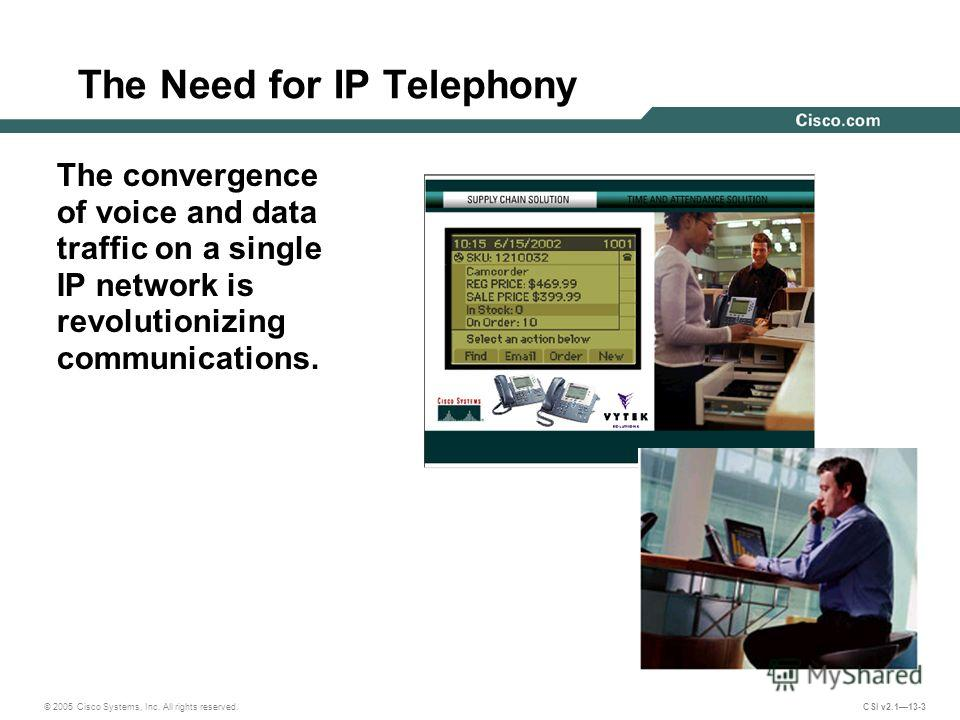 © 2005 Cisco Systems, Inc. All rights reserved. CSI v2.113-3 The Need for IP Telephony The convergence of voice and data traffic on a single IP network is revolutionizing communications.