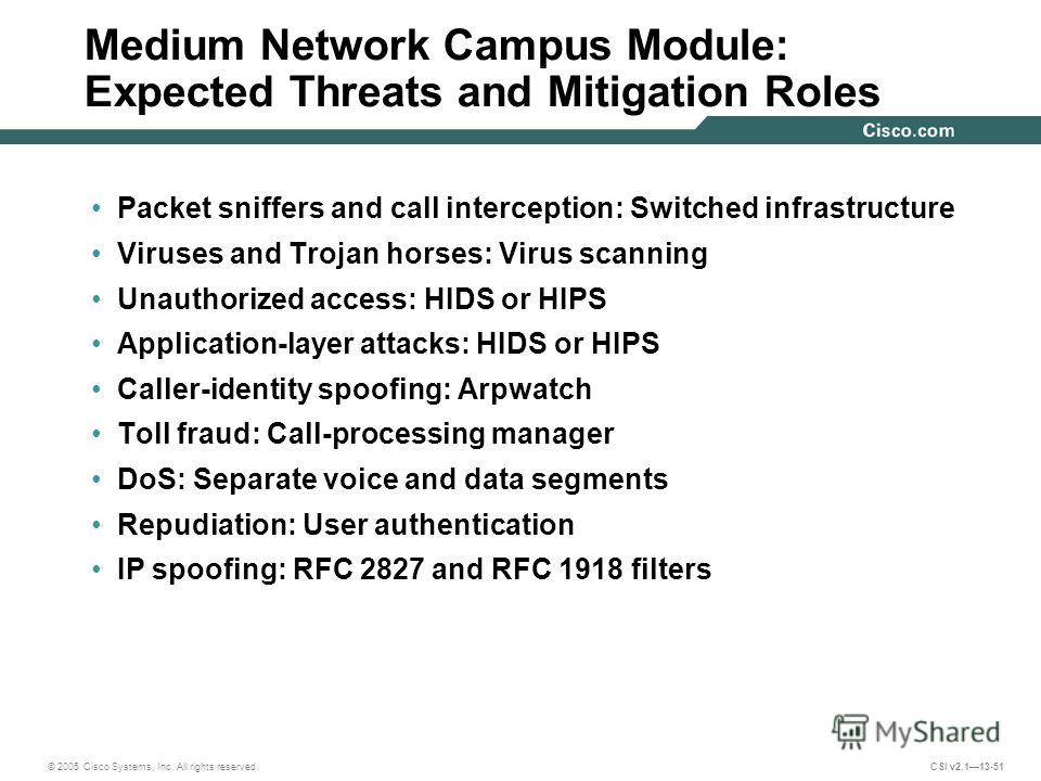© 2005 Cisco Systems, Inc. All rights reserved. CSI v2.113-51 Medium Network Campus Module: Expected Threats and Mitigation Roles Packet sniffers and call interception: Switched infrastructure Viruses and Trojan horses: Virus scanning Unauthorized ac