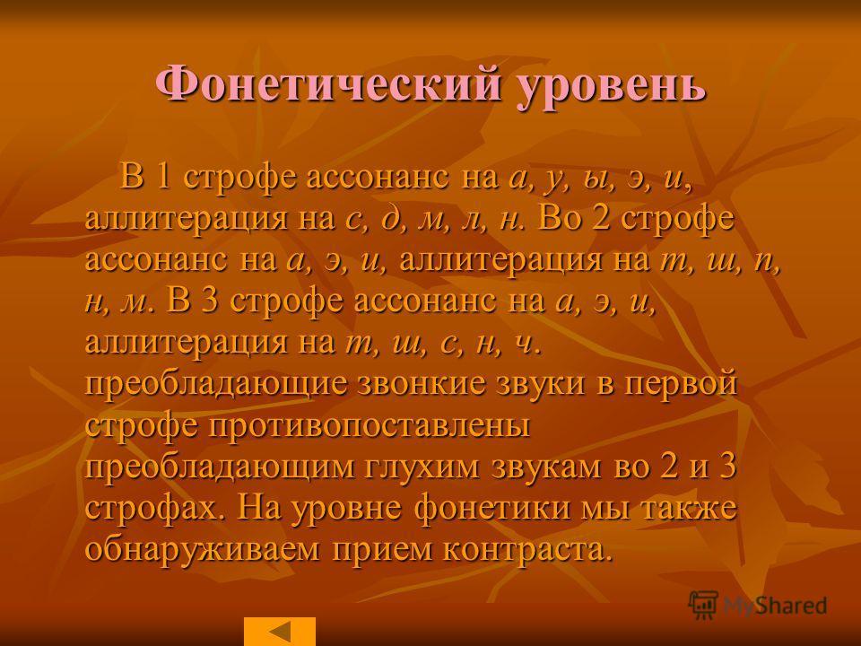 Фонетический уровень В 1 строфе ассонанс на а, у, ы, э, и, аллитерация на с, д, м, л, н. Во 2 строфе ассонанс на а, э, и, аллитерация на т, ш, п, н, м. В 3 строфе ассонанс на а, э, и, аллитерация на т, ш, с, н, ч. преобладающие звонкие звуки в первой