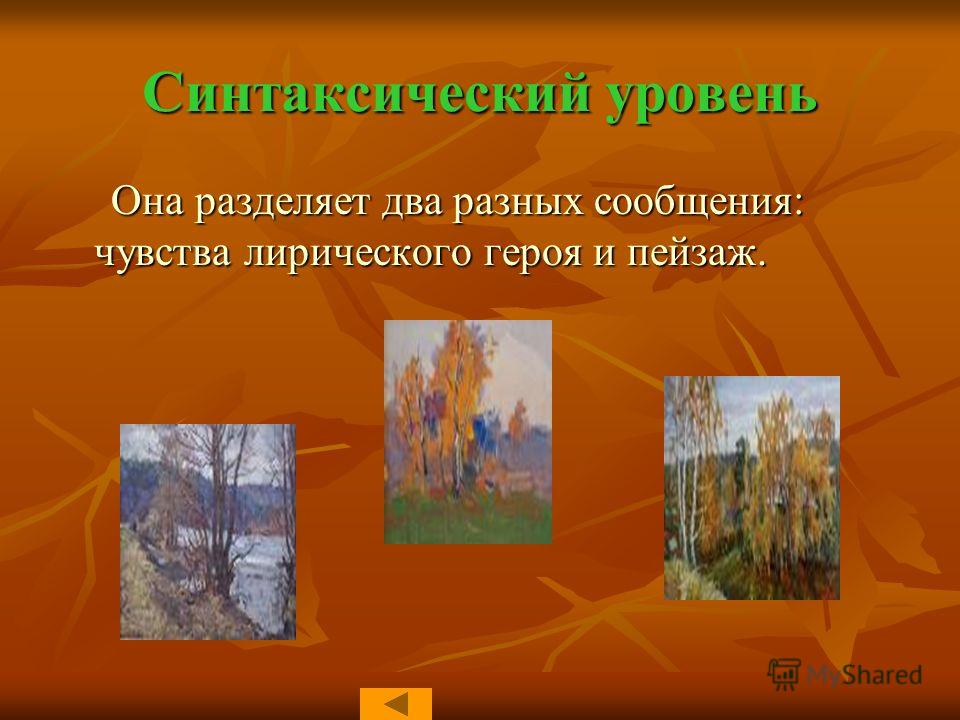 Синтаксический уровень Она разделяет два разных сообщения: чувства лирического героя и пейзаж. Она разделяет два разных сообщения: чувства лирического героя и пейзаж.