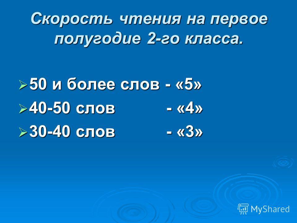 Скорость чтения на первое полугодие 2-го класса. 50 и более слов - «5» 50 и более слов - «5» 40-50 слов - «4» 40-50 слов - «4» 30-40 слов - «3» 30-40 слов - «3»