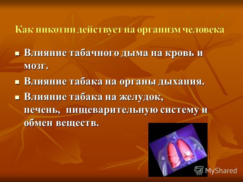 Влияние табачного дыма на кровь и мозг. Влияние табачного дыма на кровь и мозг. Влияние табака на органы дыхания. Влияние табака на органы дыхания. Влияние табака на желудок, печень, пищеварительную систему и обмен веществ. Влияние табака на желудок,