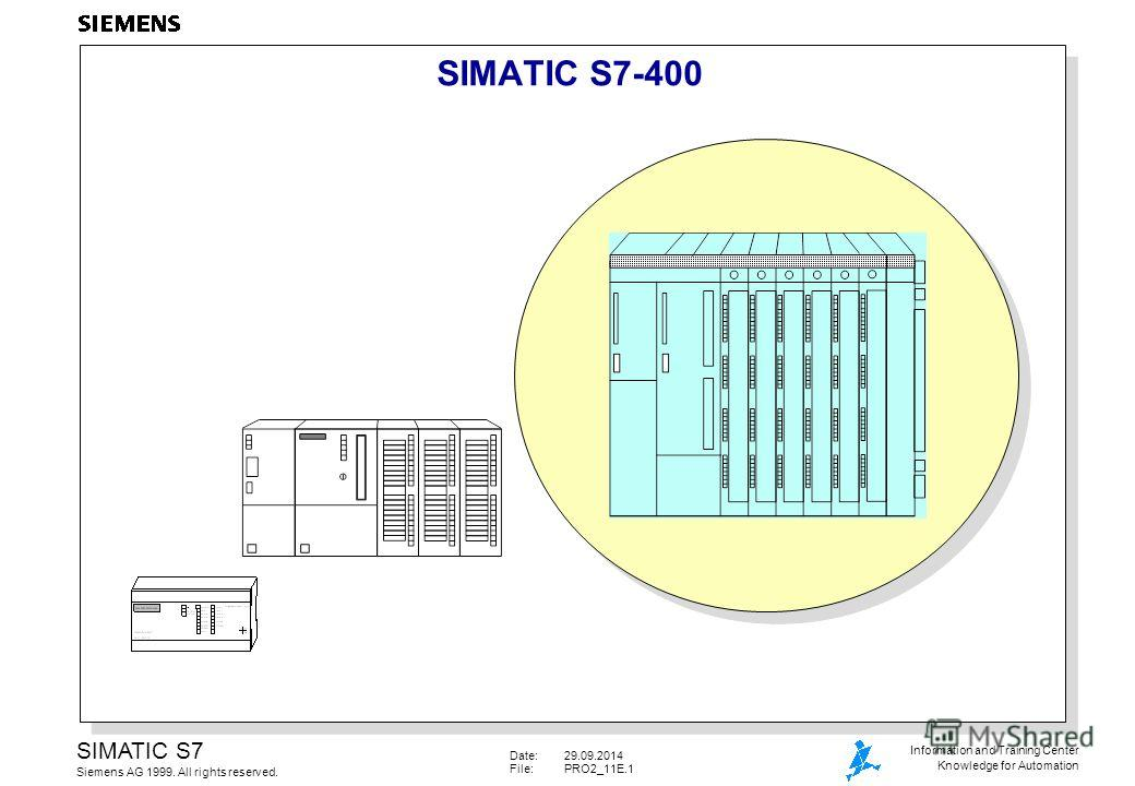 Date:29.09.2014 File:PRO2_11E.1 SIMATIC S7 Siemens AG 1999. All rights reserved. Information and Training Center Knowledge for Automation SIMATIC S7-400