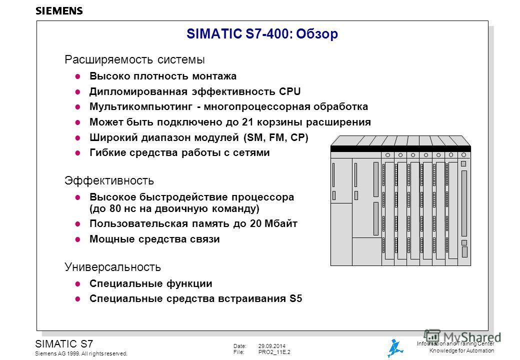 Date:29.09.2014 File:PRO2_11E.2 SIMATIC S7 Siemens AG 1999. All rights reserved. Information and Training Center Knowledge for Automation SIMATIC S7-400: Oбзор Расширяемость системы l Высоко плотность монтажа l Дипломированная эффективность CPU l Mул