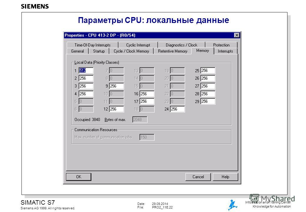 Date:29.09.2014 File:PRO2_11E.22 SIMATIC S7 Siemens AG 1999. All rights reserved. Information and Training Center Knowledge for Automation Параметры CPU: локальные данные