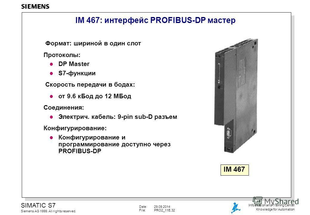 Date:29.09.2014 File:PRO2_11E.32 SIMATIC S7 Siemens AG 1999. All rights reserved. Information and Training Center Knowledge for Automation IM 467: интерфейс PROFIBUS-DP мастер Формат: шириной в один слот Протоколы: l DP Master l S7-функции Скорость п