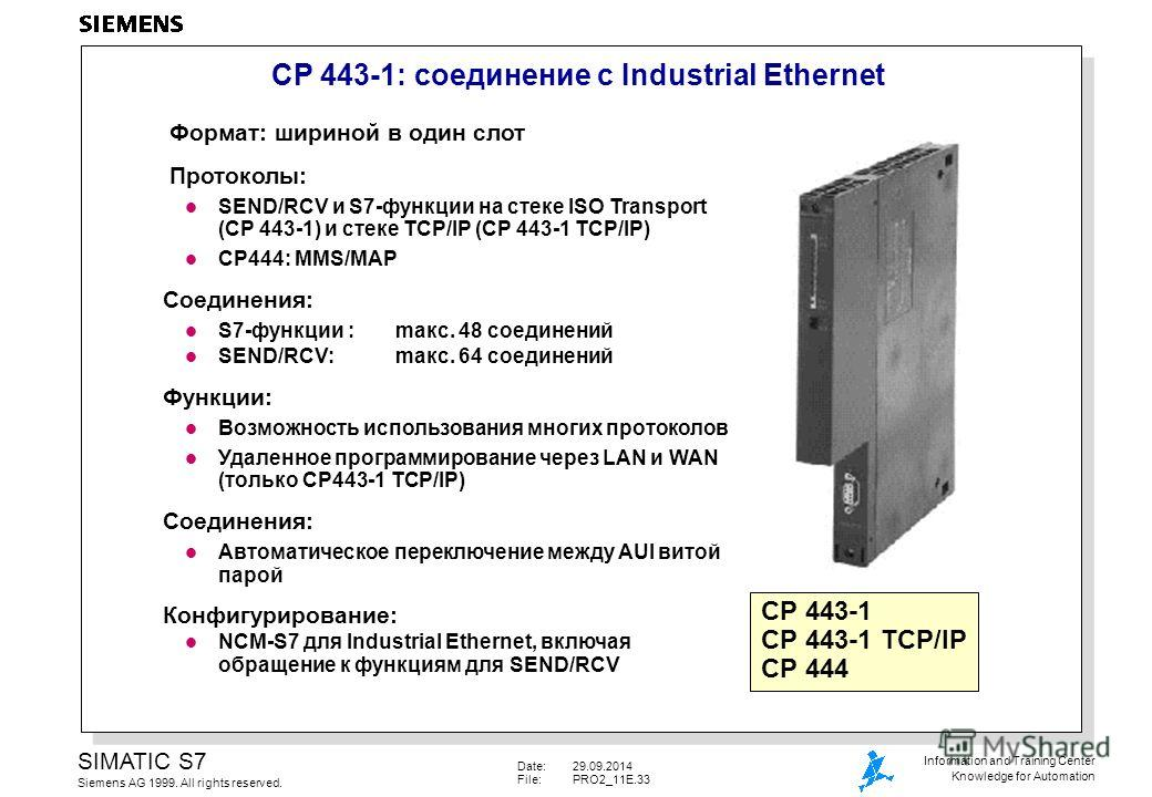 Date:29.09.2014 File:PRO2_11E.33 SIMATIC S7 Siemens AG 1999. All rights reserved. Information and Training Center Knowledge for Automation CP 443-1: соединиение с Industrial Ethernet Формат: шириной в один слот Протоколы: l SEND/RCV и S7-функции на с