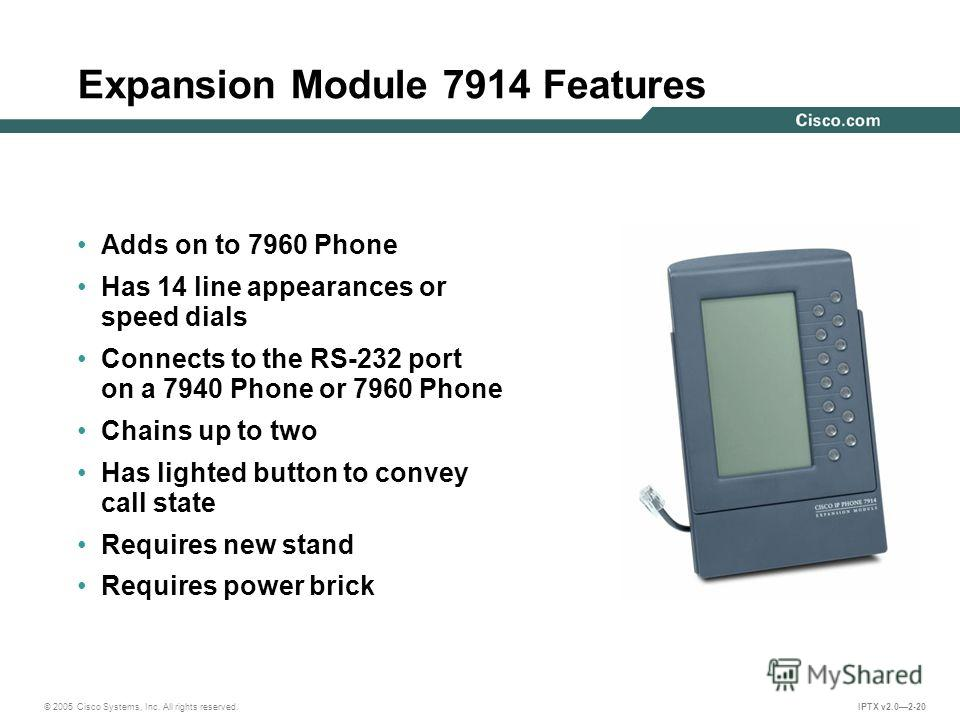 © 2005 Cisco Systems, Inc. All rights reserved. IPTX v2.02-20 Expansion Module 7914 Features Adds on to 7960 Phone Has 14 line appearances or speed dials Connects to the RS-232 port on a 7940 Phone or 7960 Phone Chains up to two Has lighted button to