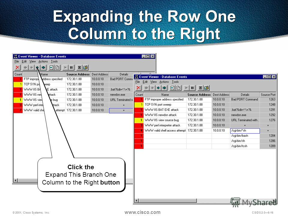 © 2001, Cisco Systems, Inc. www.cisco.com CSIDS 2.06-16 Expanding the Row One Column to the Right Click the Expand This Branch One Column to the Right button