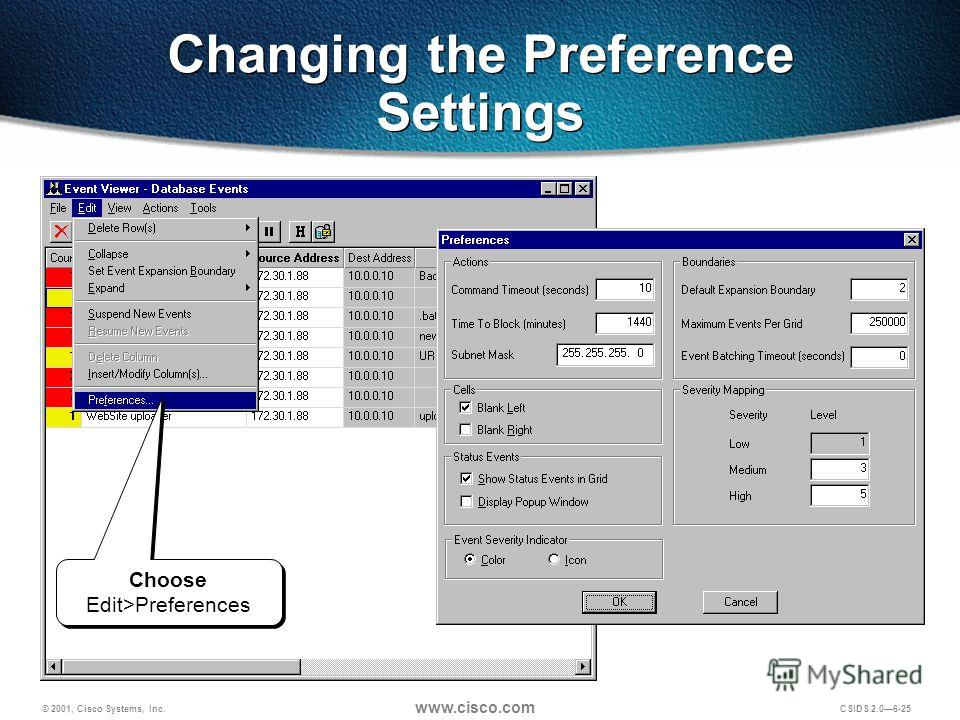 © 2001, Cisco Systems, Inc. www.cisco.com CSIDS 2.06-25 Changing the Preference Settings Choose Edit>Preferences