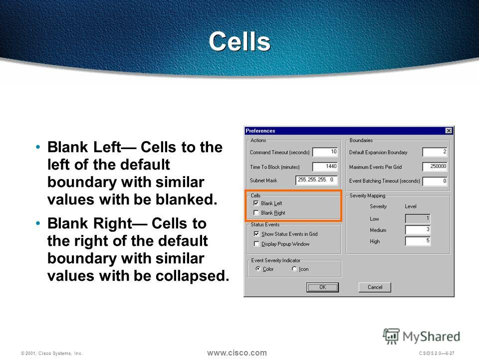 © 2001, Cisco Systems, Inc. www.cisco.com CSIDS 2.06-27 Cells Blank Left Cells to the left of the default boundary with similar values with be blanked. Blank Right Cells to the right of the default boundary with similar values with be collapsed.