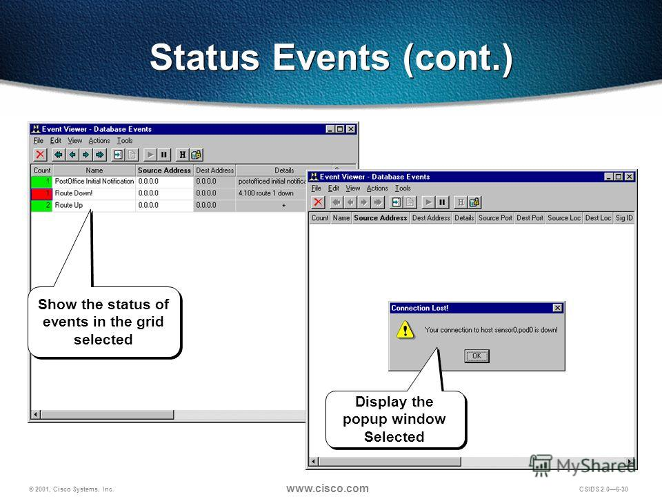 © 2001, Cisco Systems, Inc. www.cisco.com CSIDS 2.06-30 Status Events (cont.) Show the status of events in the grid selected Display the popup window Selected Display the popup window Selected