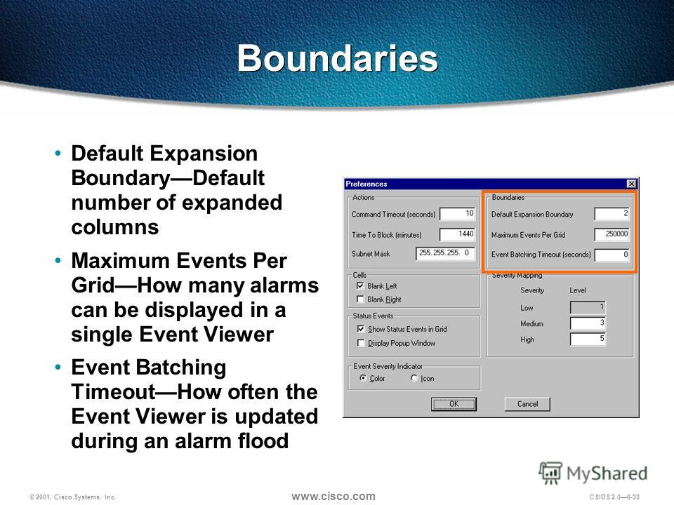© 2001, Cisco Systems, Inc. www.cisco.com CSIDS 2.06-33 Boundaries Default Expansion BoundaryDefault number of expanded columns Maximum Events Per GridHow many alarms can be displayed in a single Event Viewer Event Batching TimeoutHow often the Event