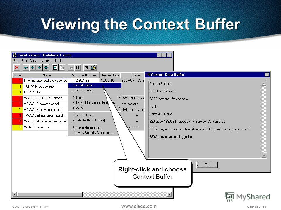 © 2001, Cisco Systems, Inc. www.cisco.com CSIDS 2.06-8 Viewing the Context Buffer Right-click and choose Context Buffer