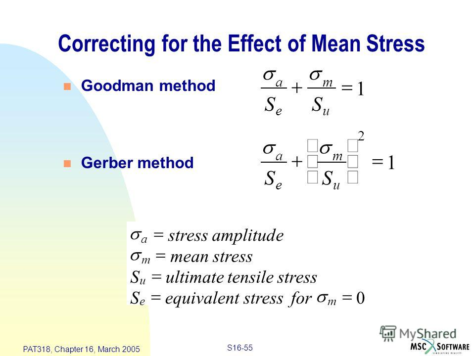 S16-55 PAT318, Chapter 16, March 2005 Correcting for the Effect of Mean Stress n Goodman method n Gerber method a e m u SS 1 2 a e m u SS 1 a m u em stressamplitude meanstress Sultimatetensilestress Sequivalentstressfor 0