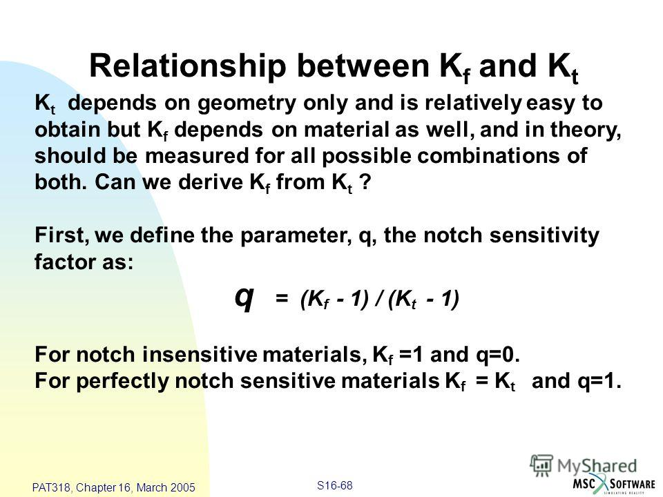 S16-68 PAT318, Chapter 16, March 2005 Relationship between K f and K t K t depends on geometry only and is relatively easy to obtain but K f depends on material as well, and in theory, should be measured for all possible combinations of both. Can we