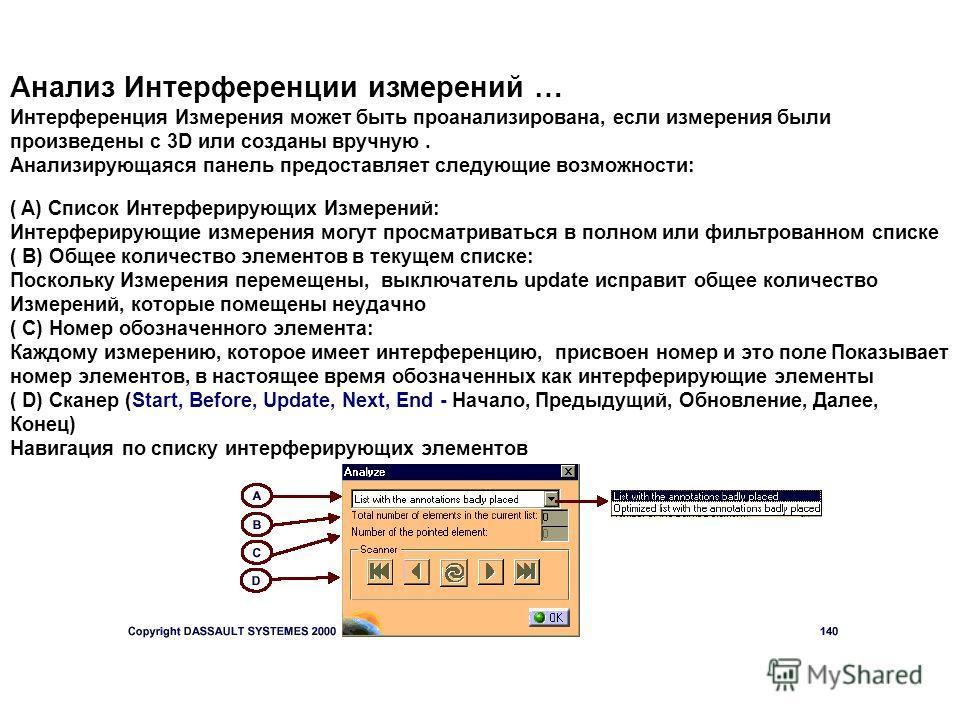Анализ Интерференции измерений … Интерференция Измерения может быть проанализирована, если измерения были произведены c 3D или созданы вручную. Анализирующаяся панель предоставляет следующие возможности: ( A) Список Интерферирующих Измерений: Интерфе