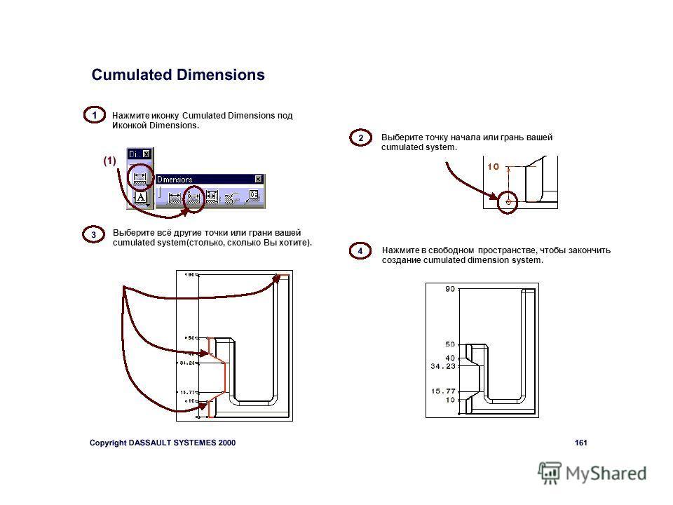 Выберите точку начала или грань вашей cumulated system. Нажмите иконку Cumulated Dimensions под Иконкой Dimensions. Выберите всё другие точки или грани вашей cumulated system(столько, сколько Вы хотите). Нажмите в свободном пространстве, чтобы законч