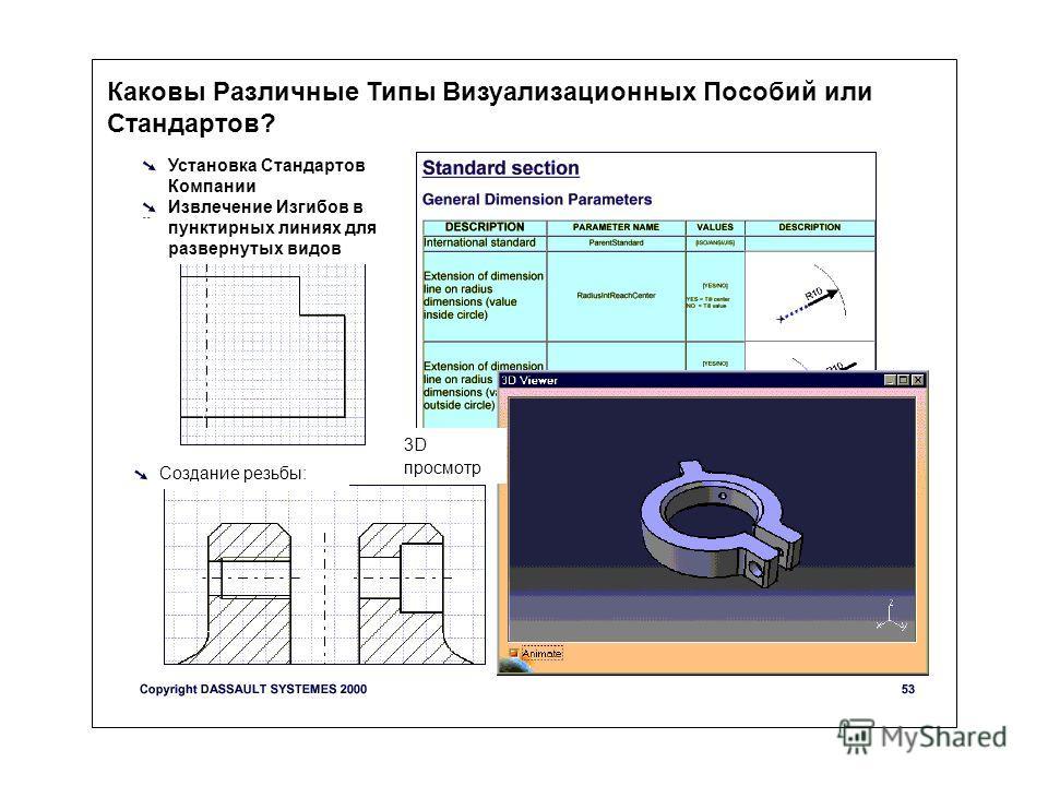 Каковы Различные Типы Визуализационных Пособий или Стандартов? Установка Стандартов Компании Извлечение Изгибов в пунктирных линиях для развернутых видов Создание резьбы: 3D просмотр