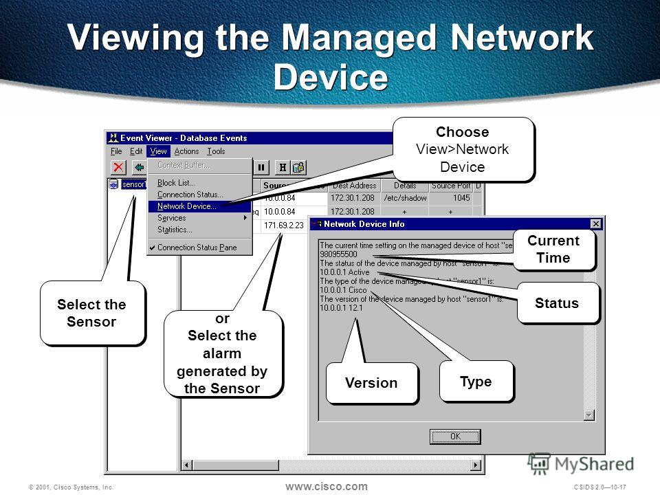 © 2001, Cisco Systems, Inc. www.cisco.com CSIDS 2.0 10-17 Viewing the Managed Network Device IP address Select the Sensor Choose View>Network Device or Select the alarm generated by the Sensor or Select the alarm generated by the Sensor Version Type