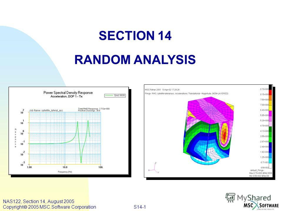 S14-1 NAS122, Section 14, August 2005 Copyright 2005 MSC.Software Corporation SECTION 14 RANDOM ANALYSIS