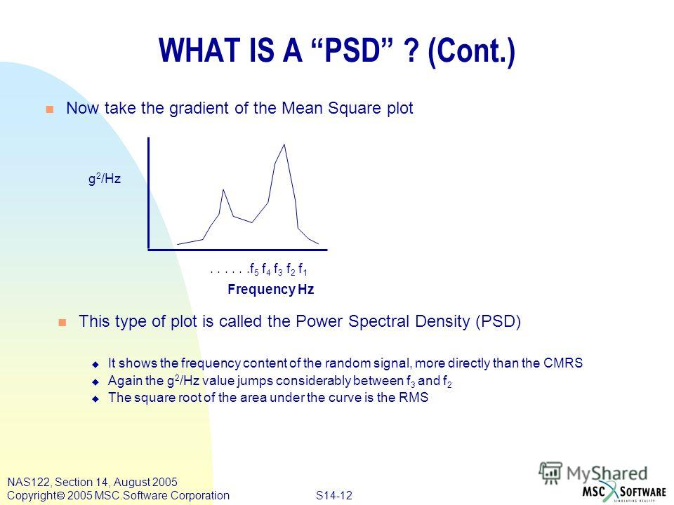 S14-12 NAS122, Section 14, August 2005 Copyright 2005 MSC.Software Corporation WHAT IS A PSD ? (Cont.) Frequency Hz n Now take the gradient of the Mean Square plot g 2 /Hz......f 5 f 4 f 3 f 2 f 1 n This type of plot is called the Power Spectral Dens