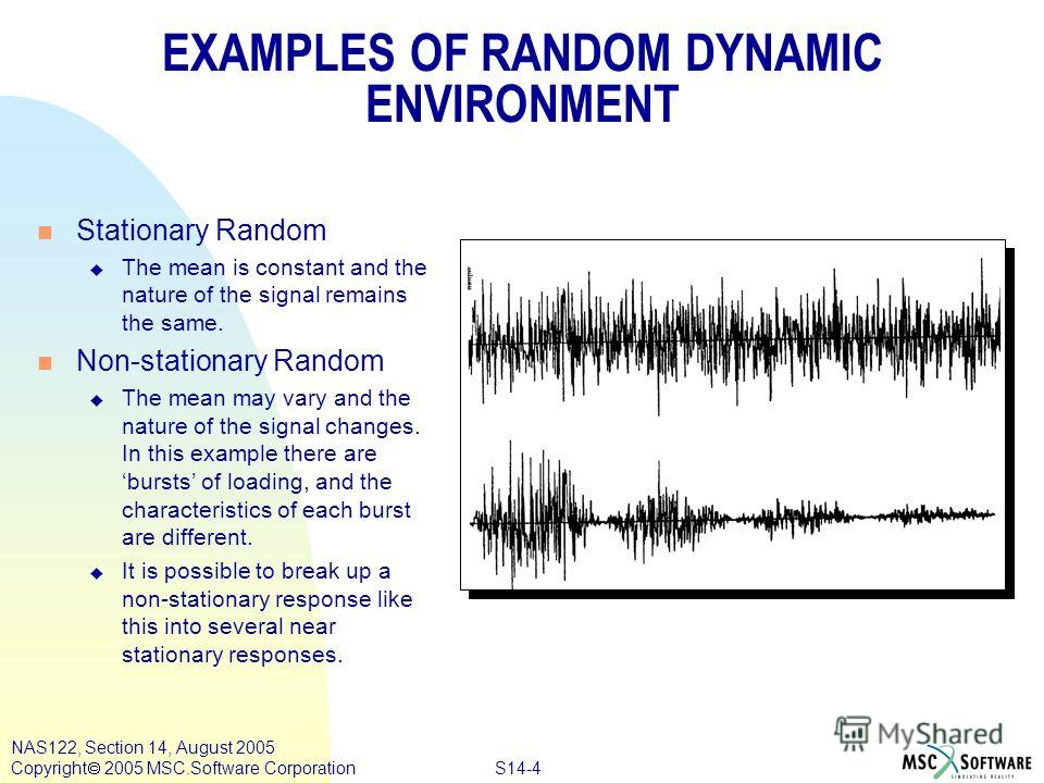 S14-4 NAS122, Section 14, August 2005 Copyright 2005 MSC.Software Corporation EXAMPLES OF RANDOM DYNAMIC ENVIRONMENT n Stationary Random u The mean is constant and the nature of the signal remains the same. n Non-stationary Random u The mean may vary