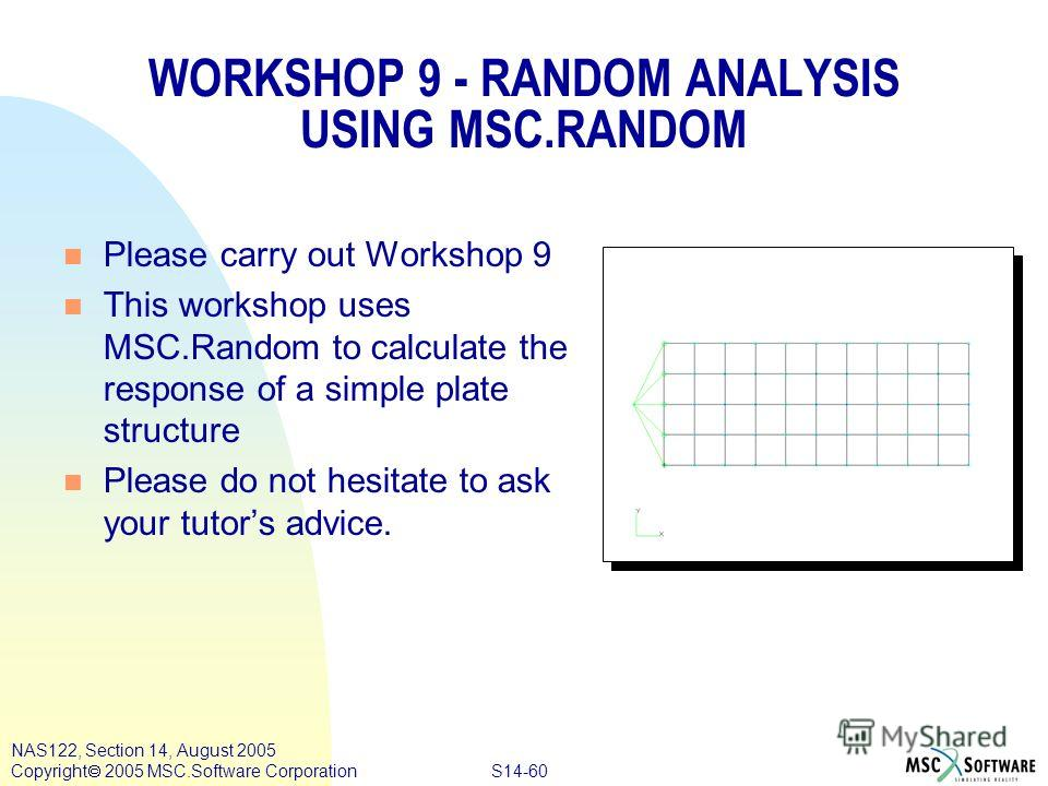 S14-60 NAS122, Section 14, August 2005 Copyright 2005 MSC.Software Corporation WORKSHOP 9 - RANDOM ANALYSIS USING MSC.RANDOM n Please carry out Workshop 9 n This workshop uses MSC.Random to calculate the response of a simple plate structure n Please