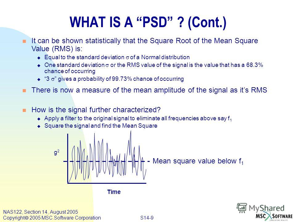 S14-9 NAS122, Section 14, August 2005 Copyright 2005 MSC.Software Corporation WHAT IS A PSD ? (Cont.) n It can be shown statistically that the Square Root of the Mean Square Value (RMS) is: Equal to the standard deviation of a Normal distribution One